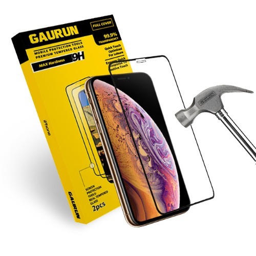 IPHONE Xs FULL-COVER REAL GLASS  BLACK (2EA)